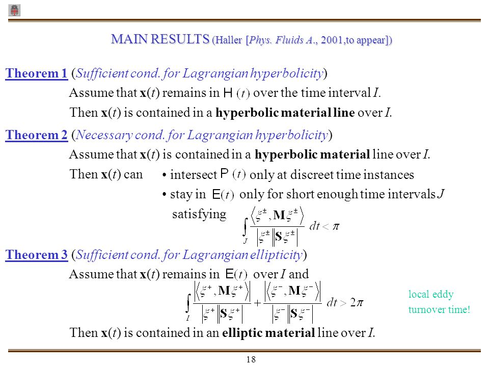 MAIN RESULTS (Haller [Phys. Fluids A., 2001,to appear])